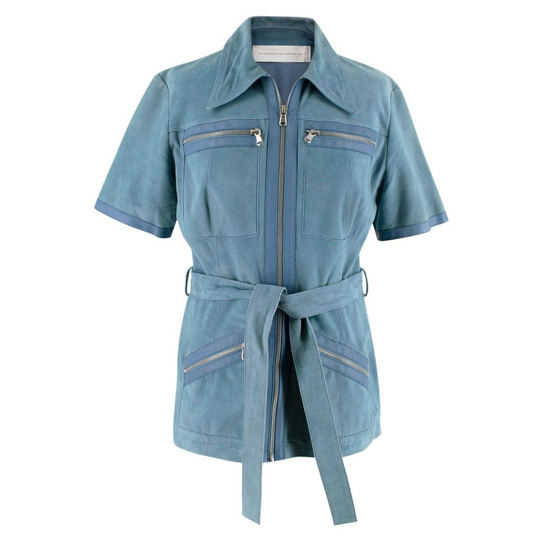 Victoria Victoria Beckham Blue Suede Leather Shirt - Us size 4 For Sale