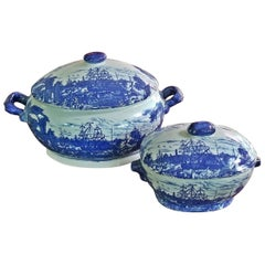 Victoria Ware Ironstone Lidded Tureens of Shipping Scenes