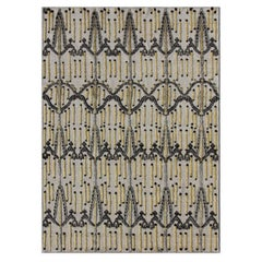 Victoria Yellow and Black Hand-Knotted Tufted Wool Rug