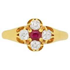 Victorian 0.15 Carat Ruby and Diamond Ring, circa 1880s