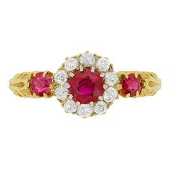 Victorian 0.40 Carat Burmese Ruby and Diamond Ring, circa 1880s