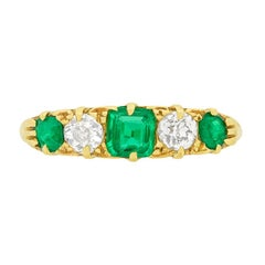 Victorian 0.40 Carat Emerald and Diamond Five-Stone Ring, circa 1900s