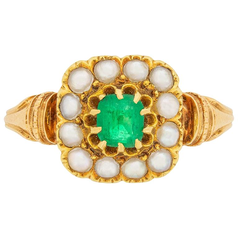 Victorian 0.40 Carat Emerald and Pearl Ring, circa 1880s