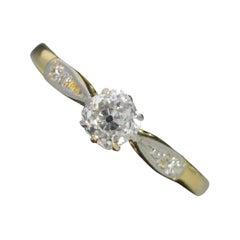 Victorian 0.45 Carat Old Cut Diamond 18 Carat Gold Platinum Engagement Ring