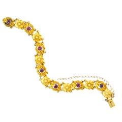 Victorian 0.45 Carat Ruby 14 Karat Gold Flower Link Bracelet