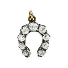 Victorian 0.50 Carat Diamond Silver-Topped 18 Karat Gold Horseshoe Charm Pendant