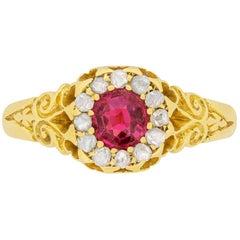 Victorian 0.50 Carat Ruby and Rose Cut Diamond Ring, circa 1890s