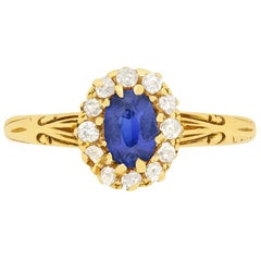 Victorian 0.50 Carat Sapphire and Diamond Halo Ring, circa 1880s