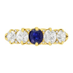 Victorian 0.50ct Sapphire and Diamond Five Stone Ring, c.1904