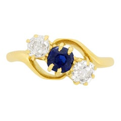 Victorian 0.50ct Sapphire and Diamond Three Stone Ring, c.1880s