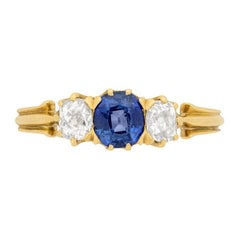 Victorian 0.50ct Sapphire and Diamond Three Stone Ring, c.1900s
