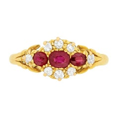 Victorian 0.55 Carat Ruby and Diamond Cluster Ring, circa 1900