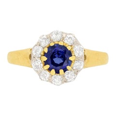 Victorian 0.65ct Sapphire and Diamond Daisy Cluster Ring, c.1880s