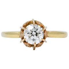 Victorian 0.70 Carat Diamond 14 Karat Two-Tone Gold Engagement Ring