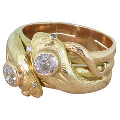 Victorian 0.70 Carat Old Cut Diamond Double Serpent Ring, circa 1880