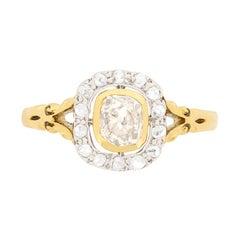 Victorian 0.74 Carat Champagne Diamond Engagement Ring, circa 1880s
