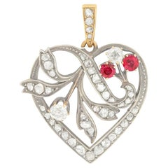 Victorian 0.75 Carat Diamond and Ruby Heart Pendant, circa 1880s
