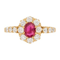 Victorian 0.75ct Ruby and Diamond Halo Ring, c.1900s