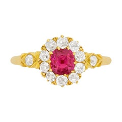 Victorian 0.80ct Pink Sapphire and Diamond Ring, c.1880s