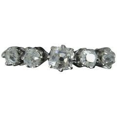 Victorian 0.85 Carat Old Cut Diamond 18 Carat Gold and Platinum Five-Stone Ring