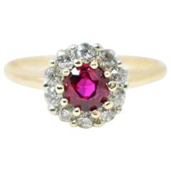 Victorian 0.89 Carat Ruby Diamond Platinum-Topped 18 Karat Gold Cluster Ring