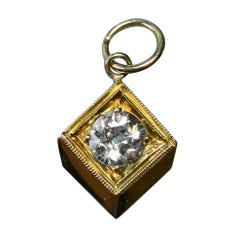 Victorian 1/2 Carat Old European Cut Diamond Solitaire Pendant I Color 14 Karat