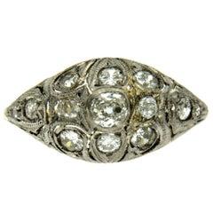 Victorian 1 Carat Diamond Filigree Gold Ring