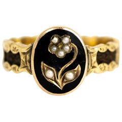 Victorian 10 Carat Gold Black Enamel and Pearl Flower Mourning Ring