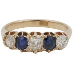 Victorian 1.0 Carat Old Mine Diamond 1.0 Carat Sapphire Five-Stone Ring
