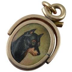 Victorian 10 Carat Rose Gold Painted Dog and Carnelian Swivel Pendant Locket