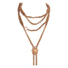 Victorian 10 Karat Enamel Pearl Gold Necklace