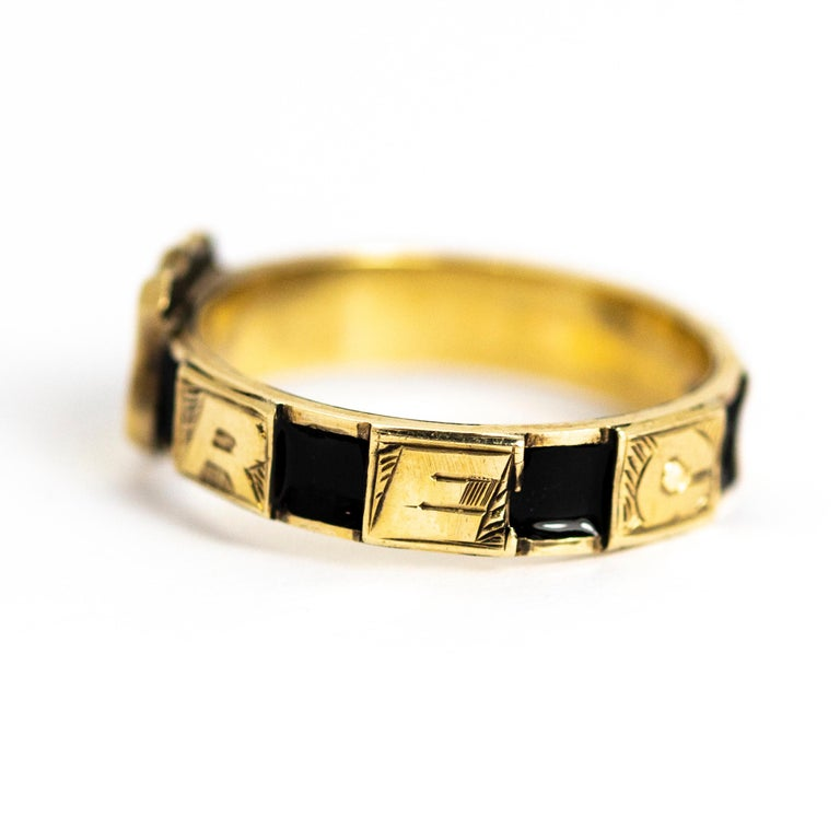 Victorian 10 Karat Gold and Black Enamel Regard Ring In Good Condition For Sale In Chipping Campden, GB