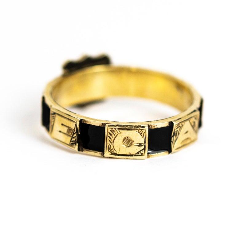 Women's or Men's Victorian 10 Karat Gold and Black Enamel Regard Ring For Sale