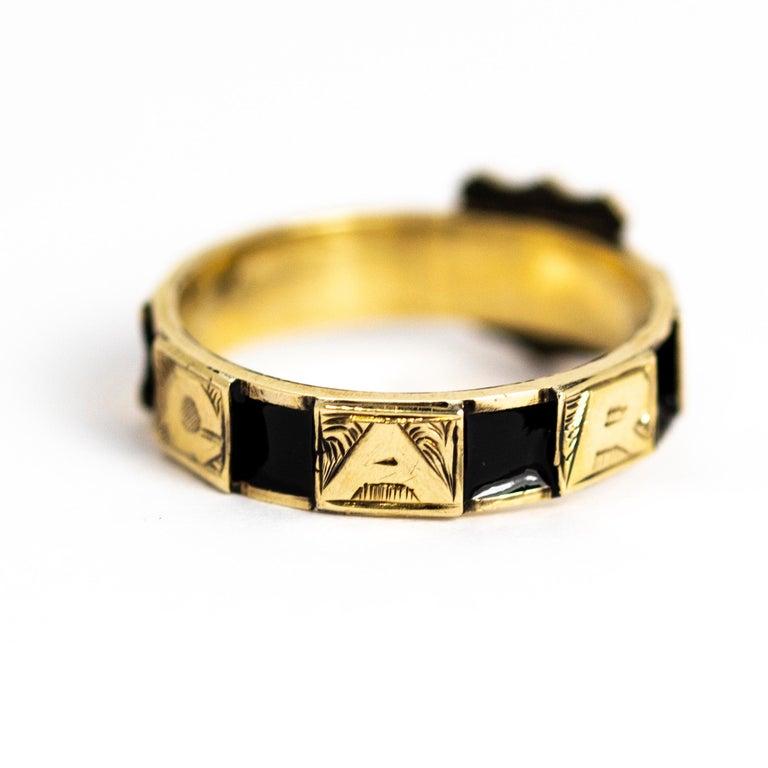 Victorian 10 Karat Gold and Black Enamel Regard Ring For Sale 1