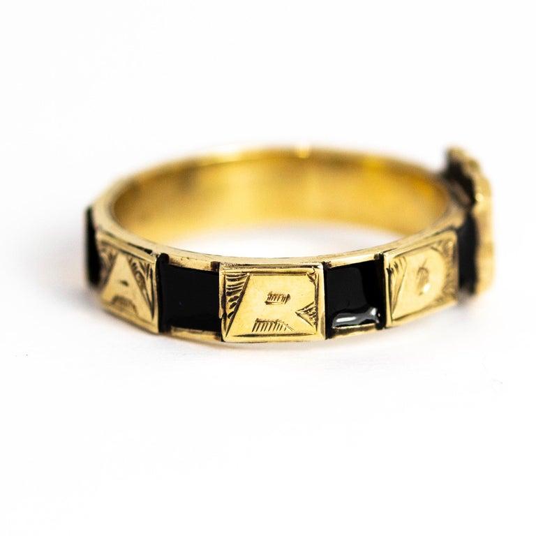 Victorian 10 Karat Gold and Black Enamel Regard Ring For Sale 2