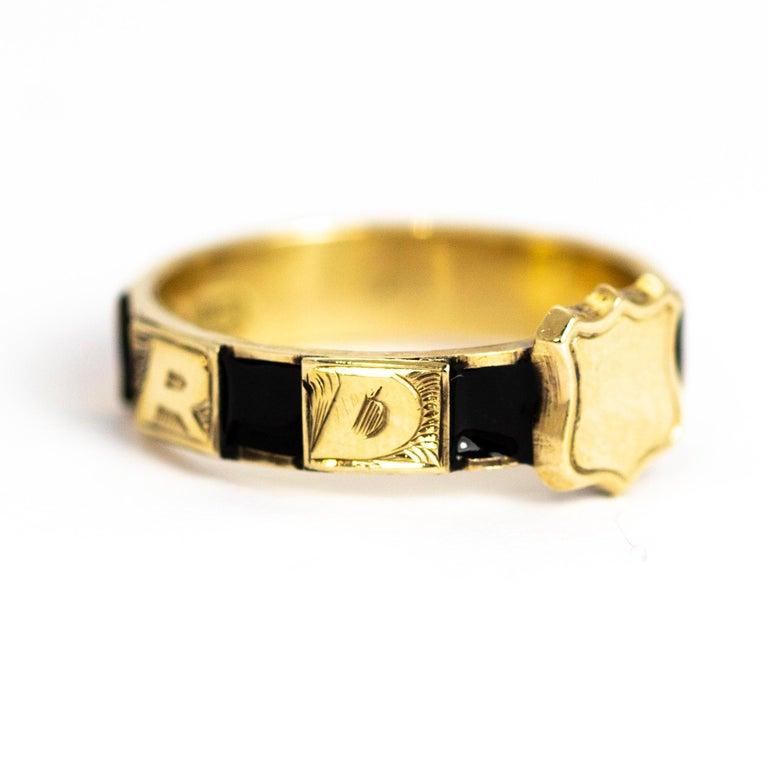 Victorian 10 Karat Gold and Black Enamel Regard Ring For Sale 3