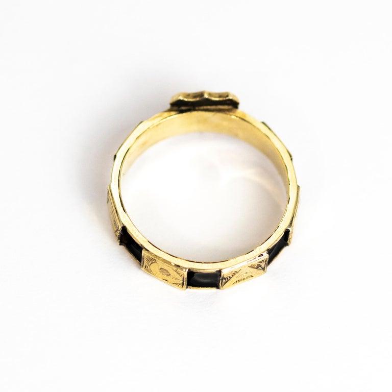 Victorian 10 Karat Gold and Black Enamel Regard Ring For Sale 4