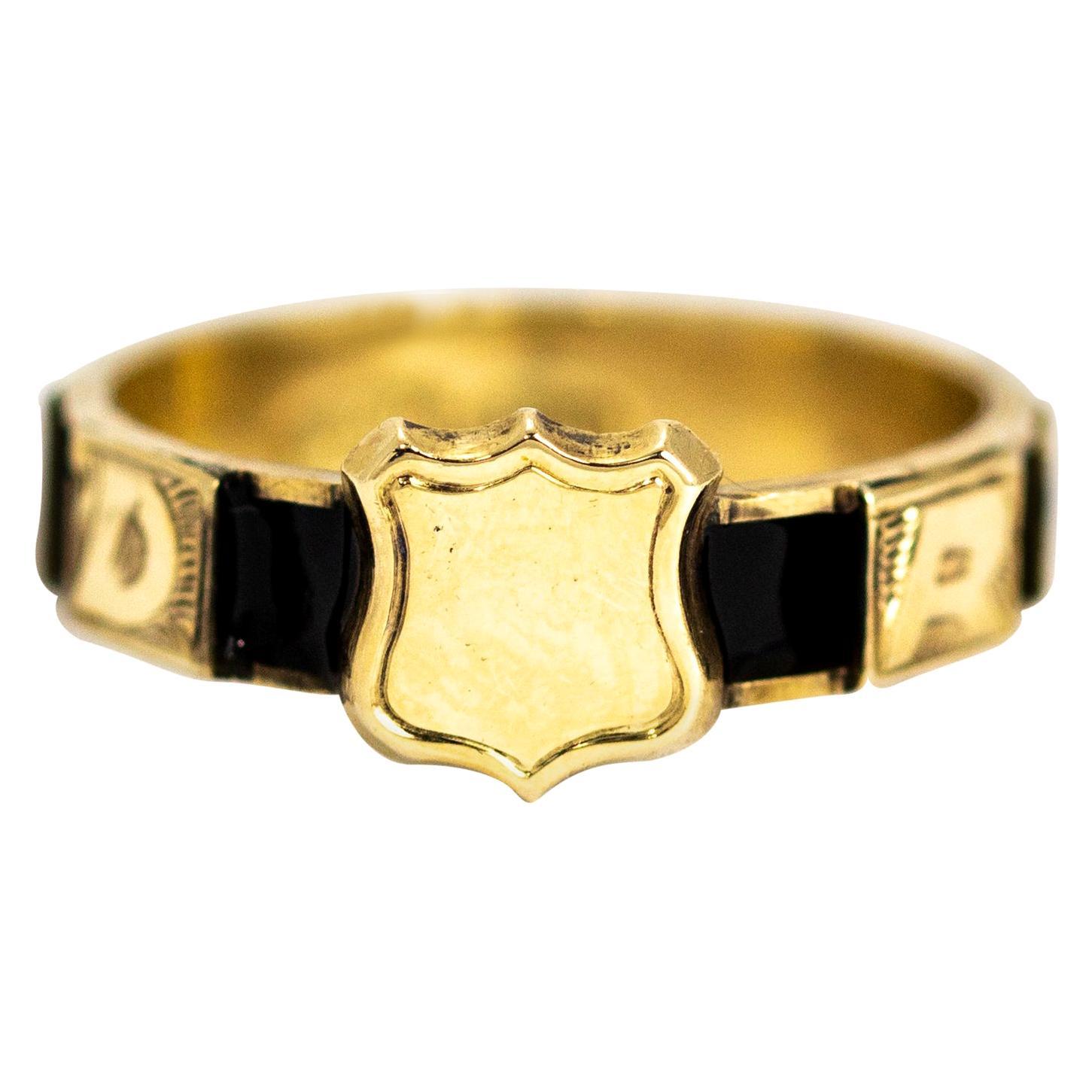 Victorian 10 Karat Gold and Black Enamel Regard Ring