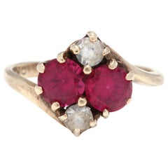 Victorian 10 Karat Yellow Gold, Red and Colorless Stone Ring