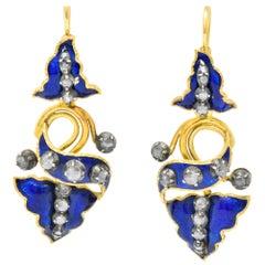 Victorian 1.00 Carat Diamond Enamel Silver 18 Karat Gold Day/Night Drop Earrings