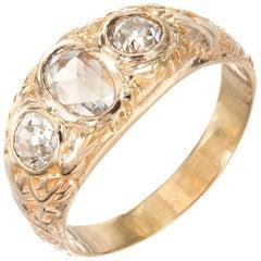 Victorian 1.00 Carat Diamond Yellow Gold Three-Stone Ring