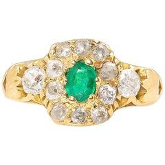Victorian 1.00 Carat Green Emerald Diamond Engagement Yellow Gold Ring EGL USA