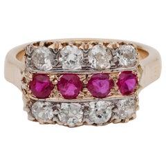Victorian 1.00 Carat Natural Ruby 1.60 Carat Diamond Rare Antique Ring