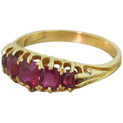 Victorian 1.00 Carat Natural Ruby Five-Stone Ring