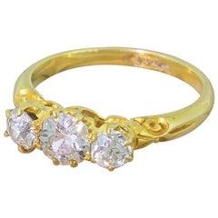 Victorian 1.00 Carat Old Cut Diamond Trilogy Ring
