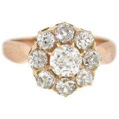 Victorian 1.00 Total Carat Diamond Cluster Ring