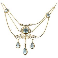 Victorian 10.00 Carat Aquamarine Seed Pearl 14 Karat Gold Swag Necklace