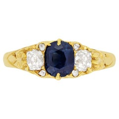 Victorian 1.00ct Sapphire and Diamond Ring, c.1880s