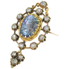 Victorian 10.79 Carat Natural Ceylon Sapphire Brooch or Pendant