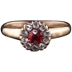 Victorian 10 Karat Yellow Gold Rose Cut Diamond and Synthetic Ruby Ring